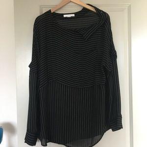 Alexander Wang Black Sheer Striped Blouse